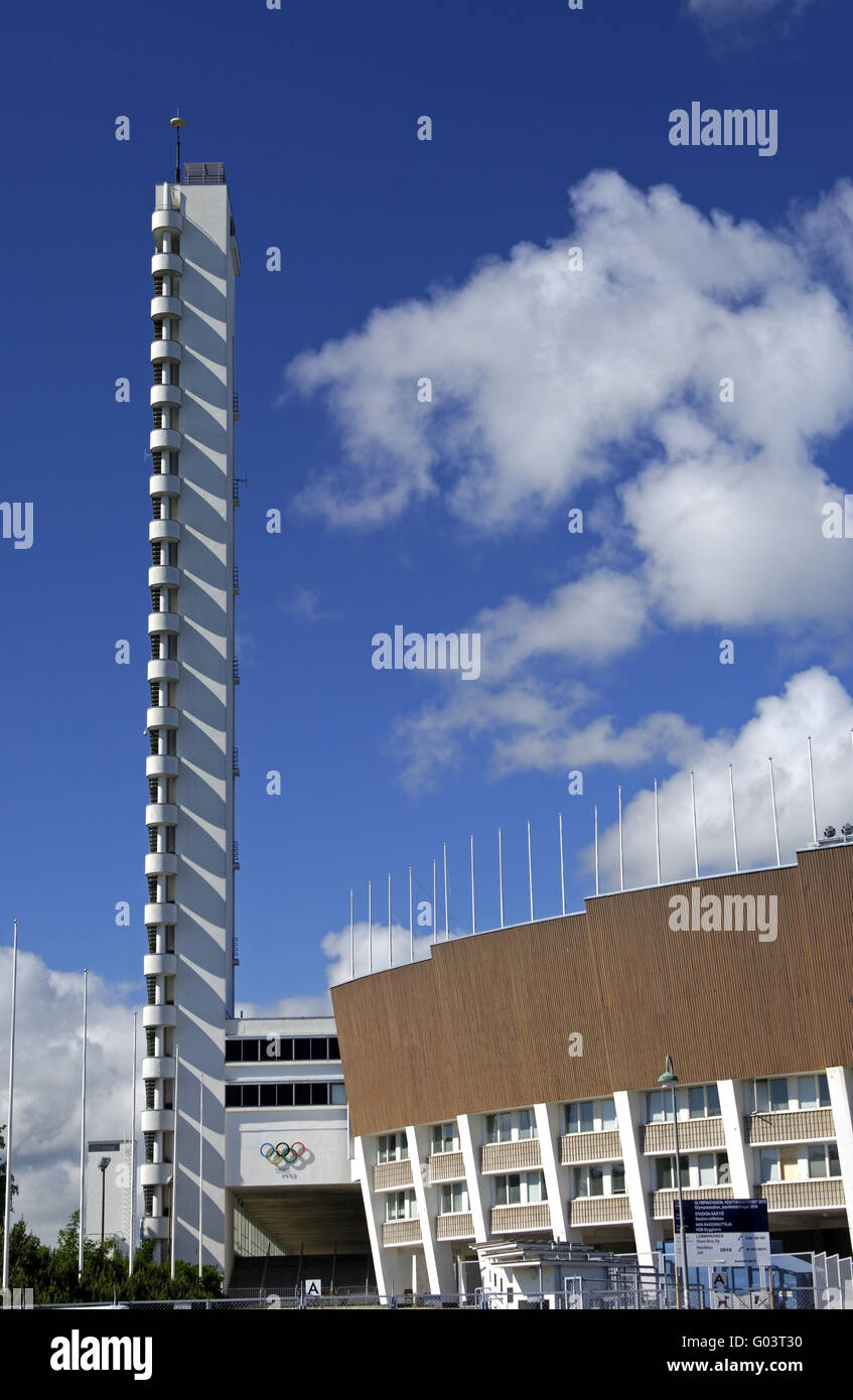 Tall tower of the Olympic stadium in Helsinki - Stock Image