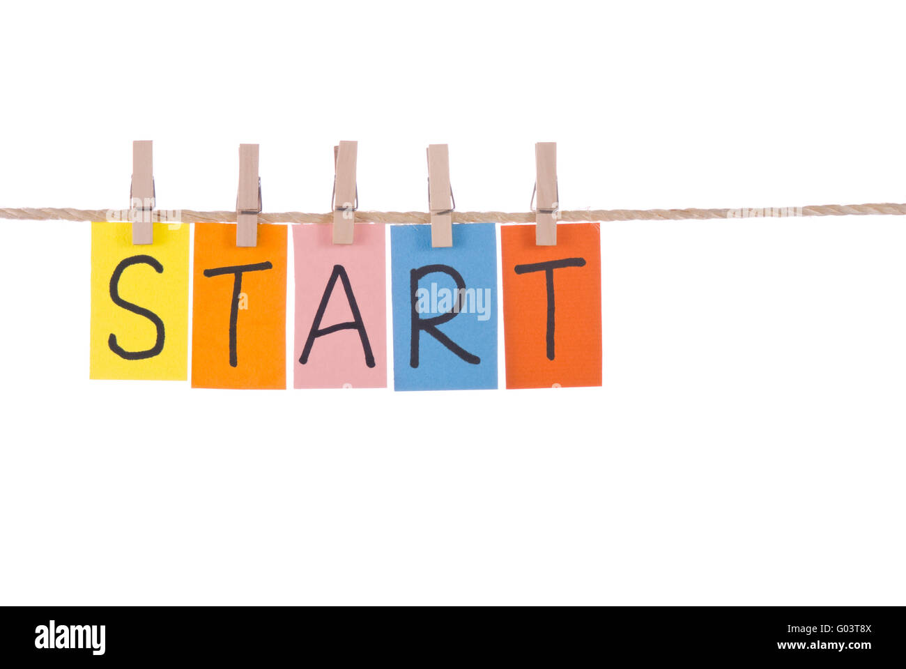 start colorful words hang on rope by wooden peg stock photo