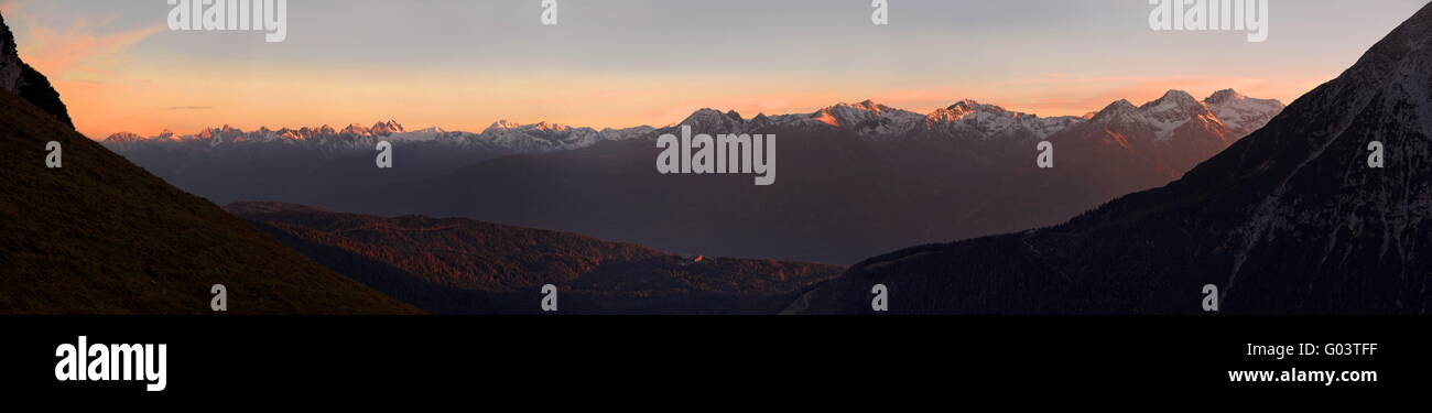 Alpenglow Panoramic - Stock Image