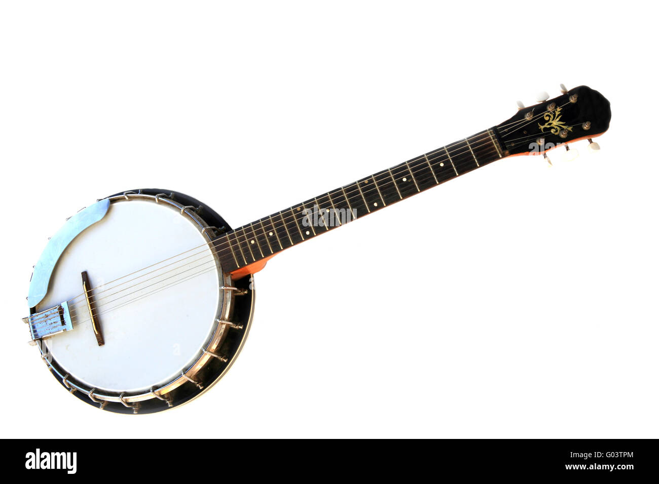 Musical instrument banjo isolated on a white background. - Stock Image