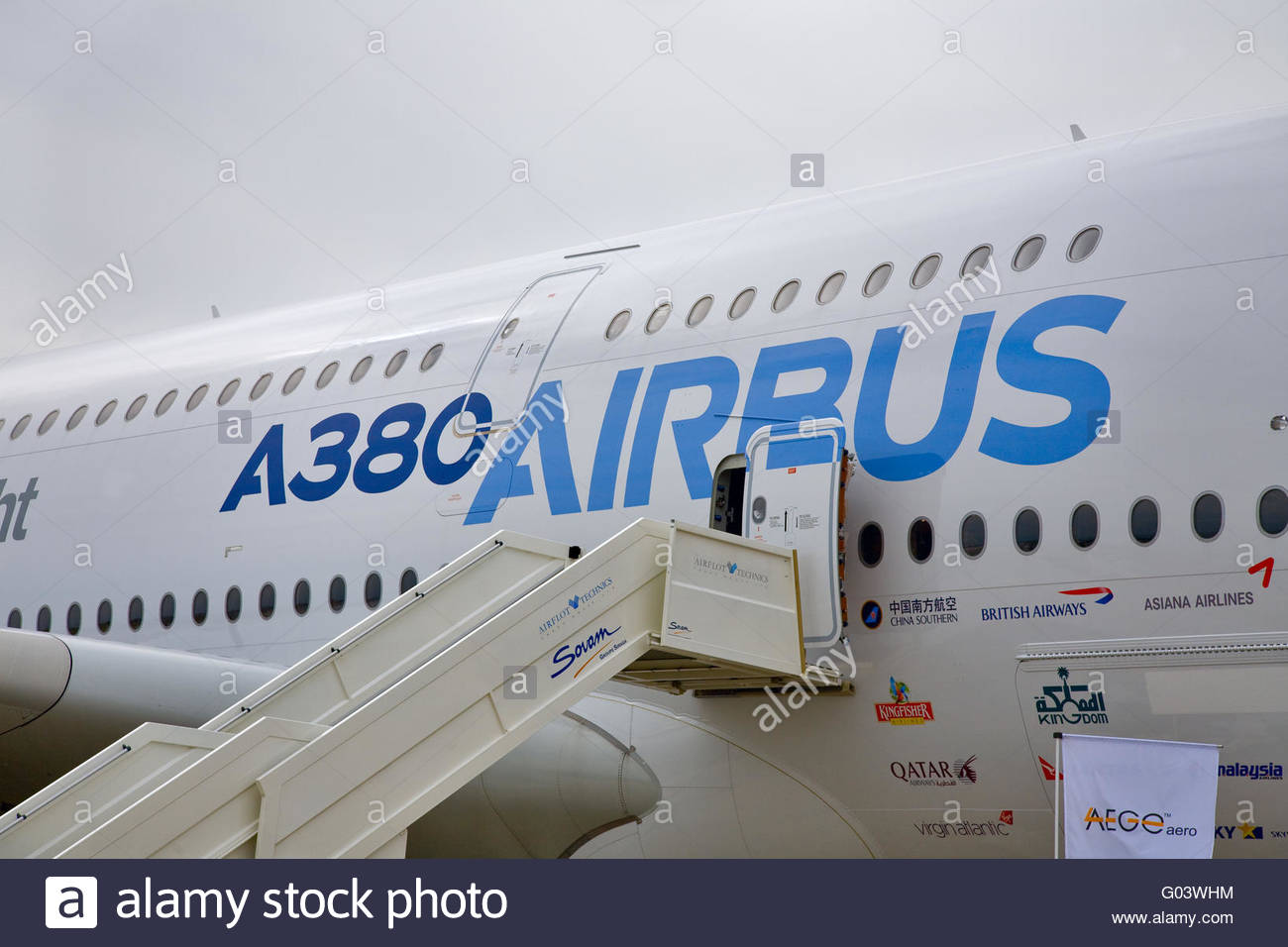 Display by the Airbus A380 at the International Aviation and Space salon MAKS - Stock Image