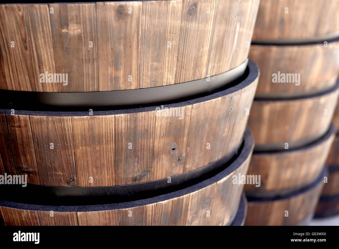 oak barrels stacked top. Oak Barrels Stacked Top. Close Up Of A Stack Wood Barrel Planters For Interior Or Top E