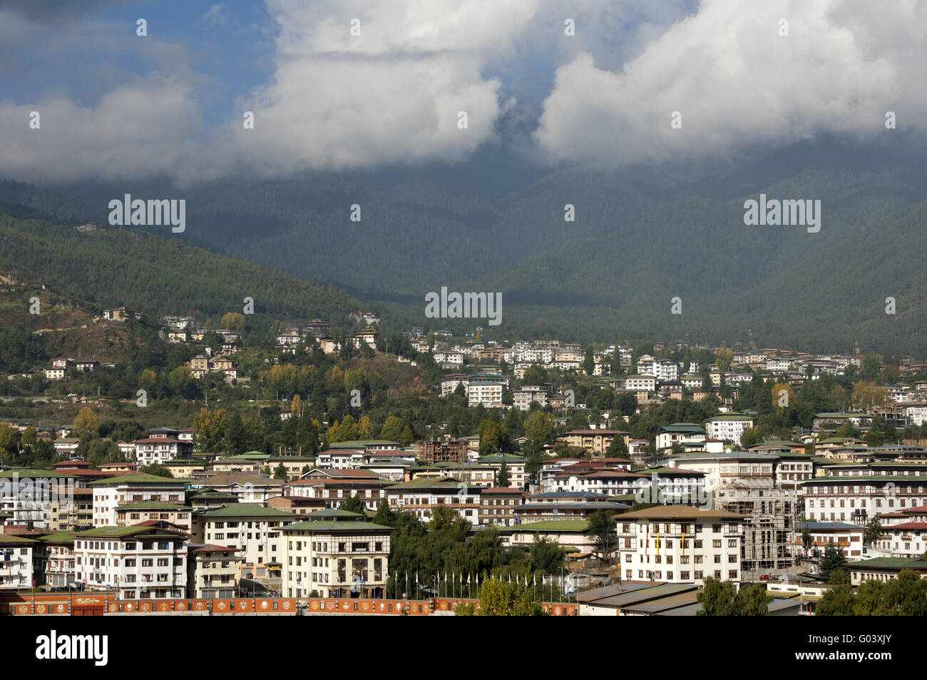 Thimphu, capital city of the Kingdom of Bhutan - Stock Image