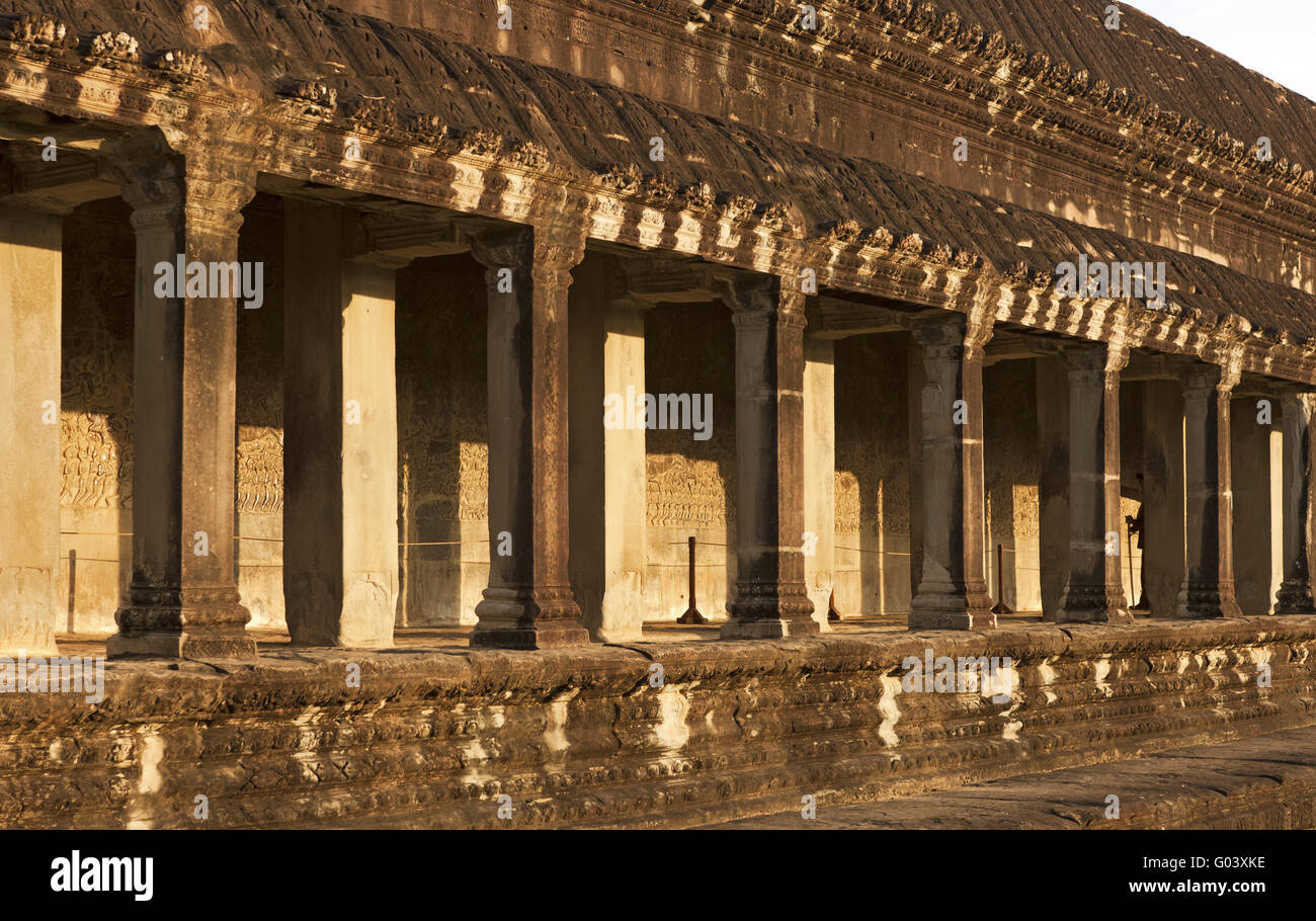 South gallery in the west wing of Angkor Wat Stock Photo