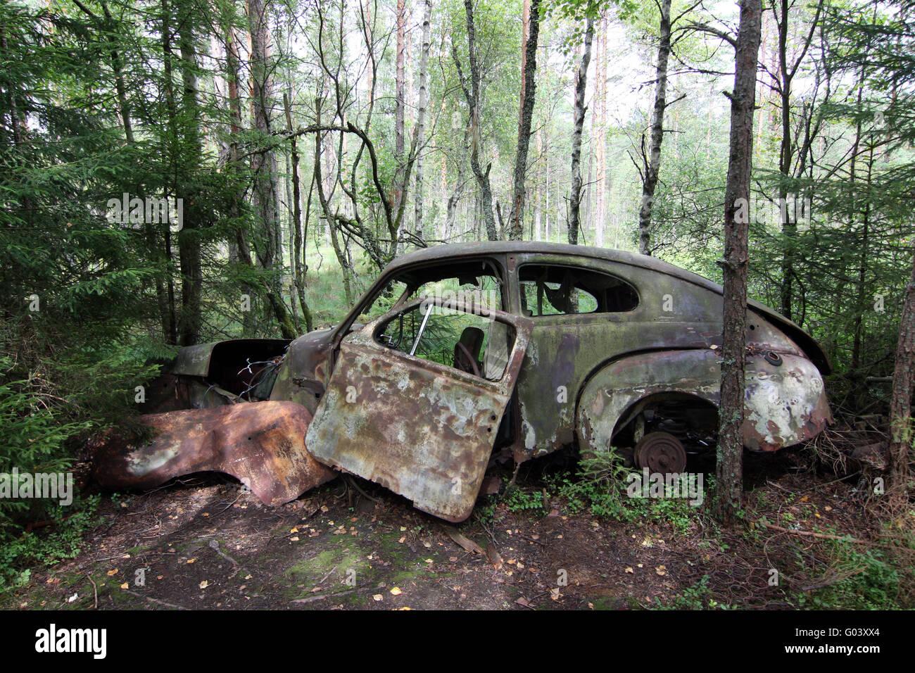 car wreck - scap motorcar vehicle - junkyard Stock Photo