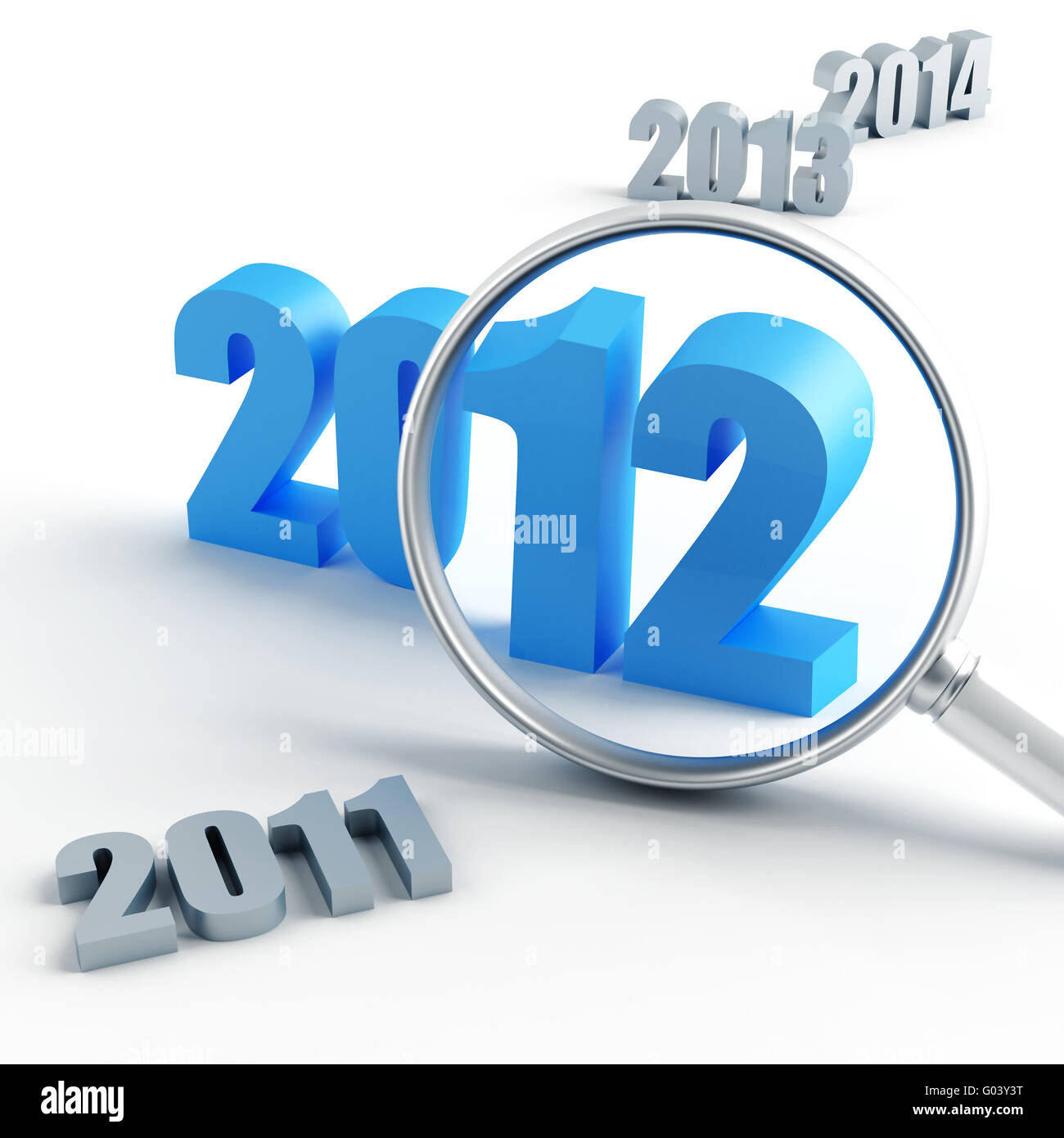 new 2012 year under magnification and other years - Stock Image