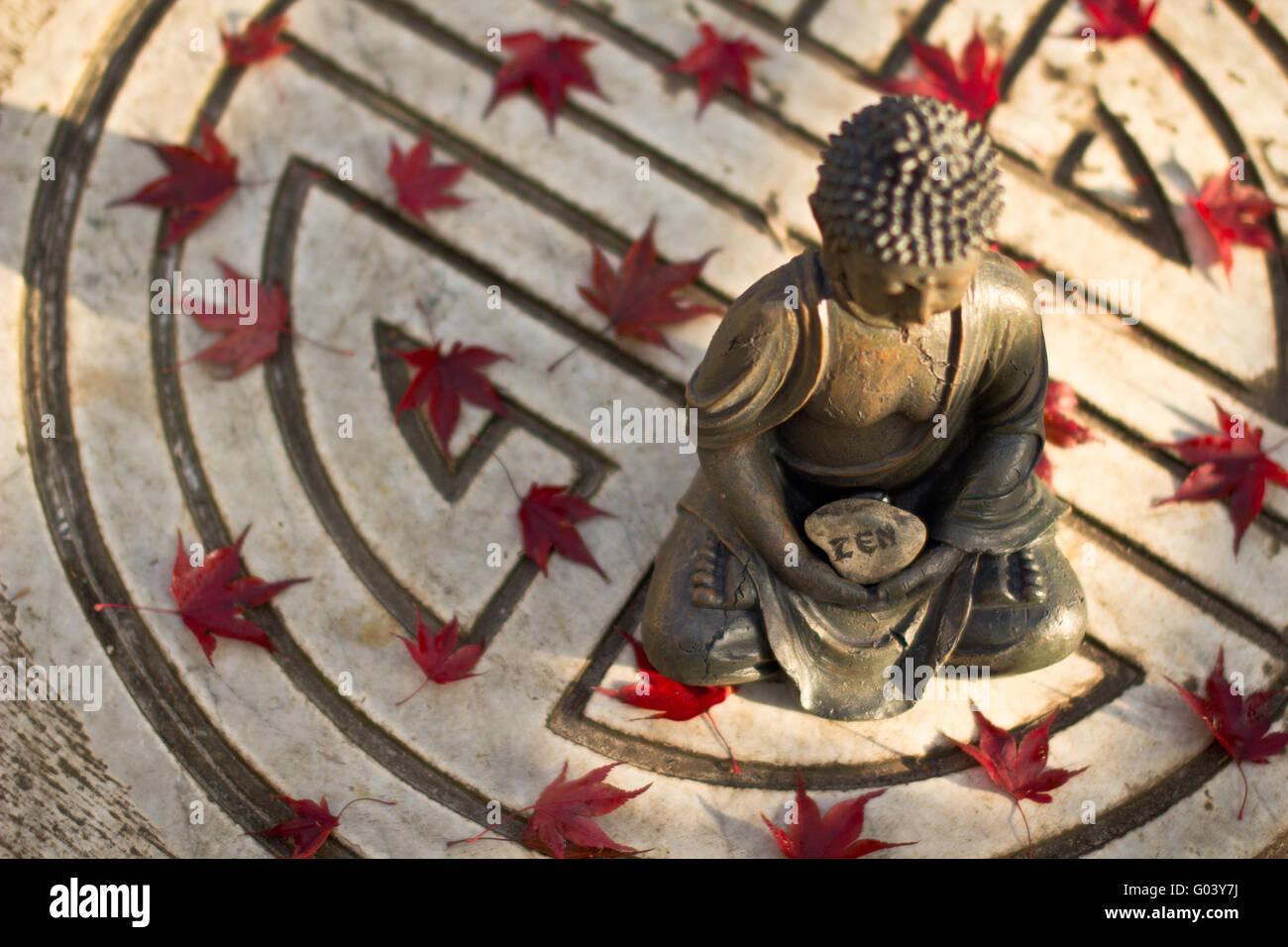 Buddha Statue Meditating In Symbol Of Long Life Stock Photo