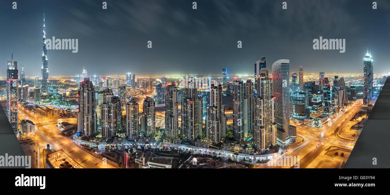 Dubai Downtown Night Panorama From Top - Stock Image