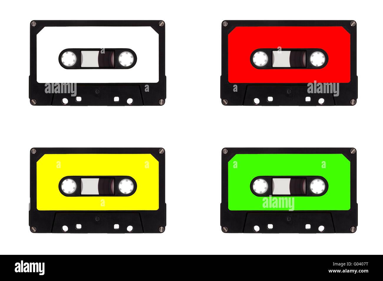 Quartet of cassette tapes - Stock Image