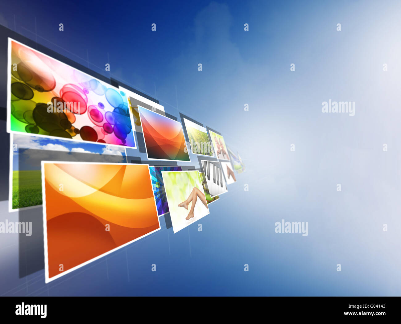 images streaming from the deep over sky blue background - Stock Image
