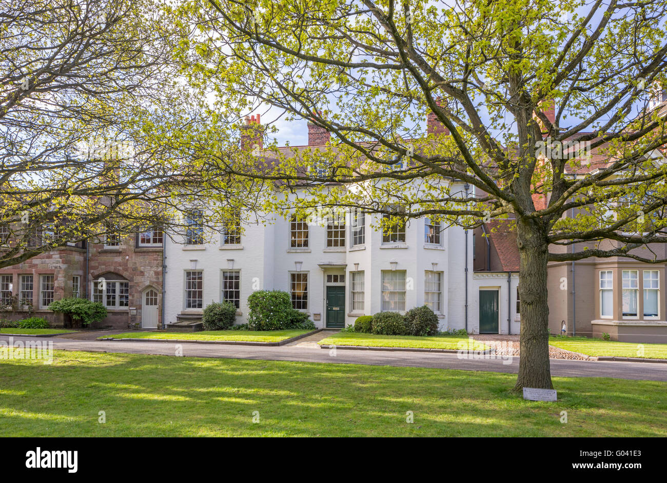 College Green and King's School, Worcester, Worcestershire, England, UK - Stock Image