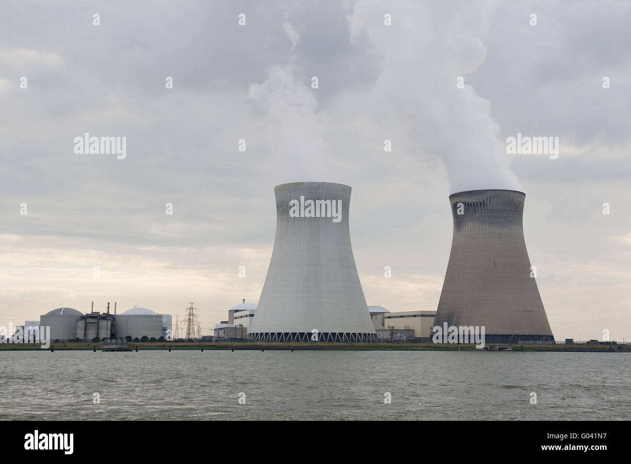 Cooling towers of doel nuclear station near Antwerpen - Stock Image