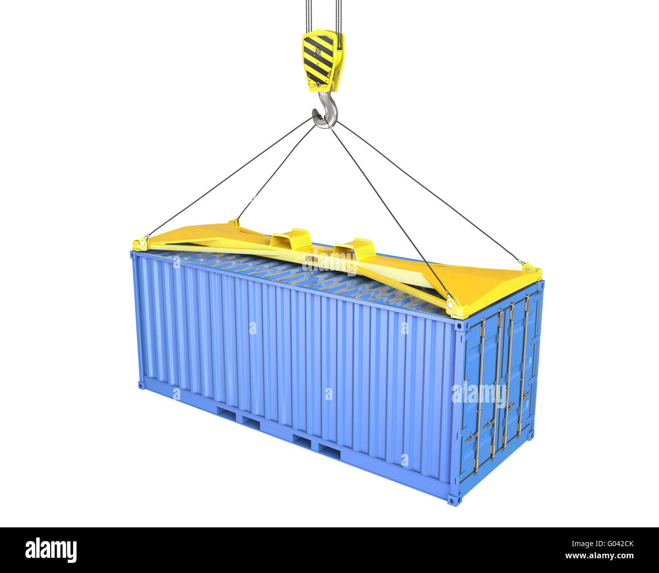 Freight container hoisted on container spreader - Stock Image