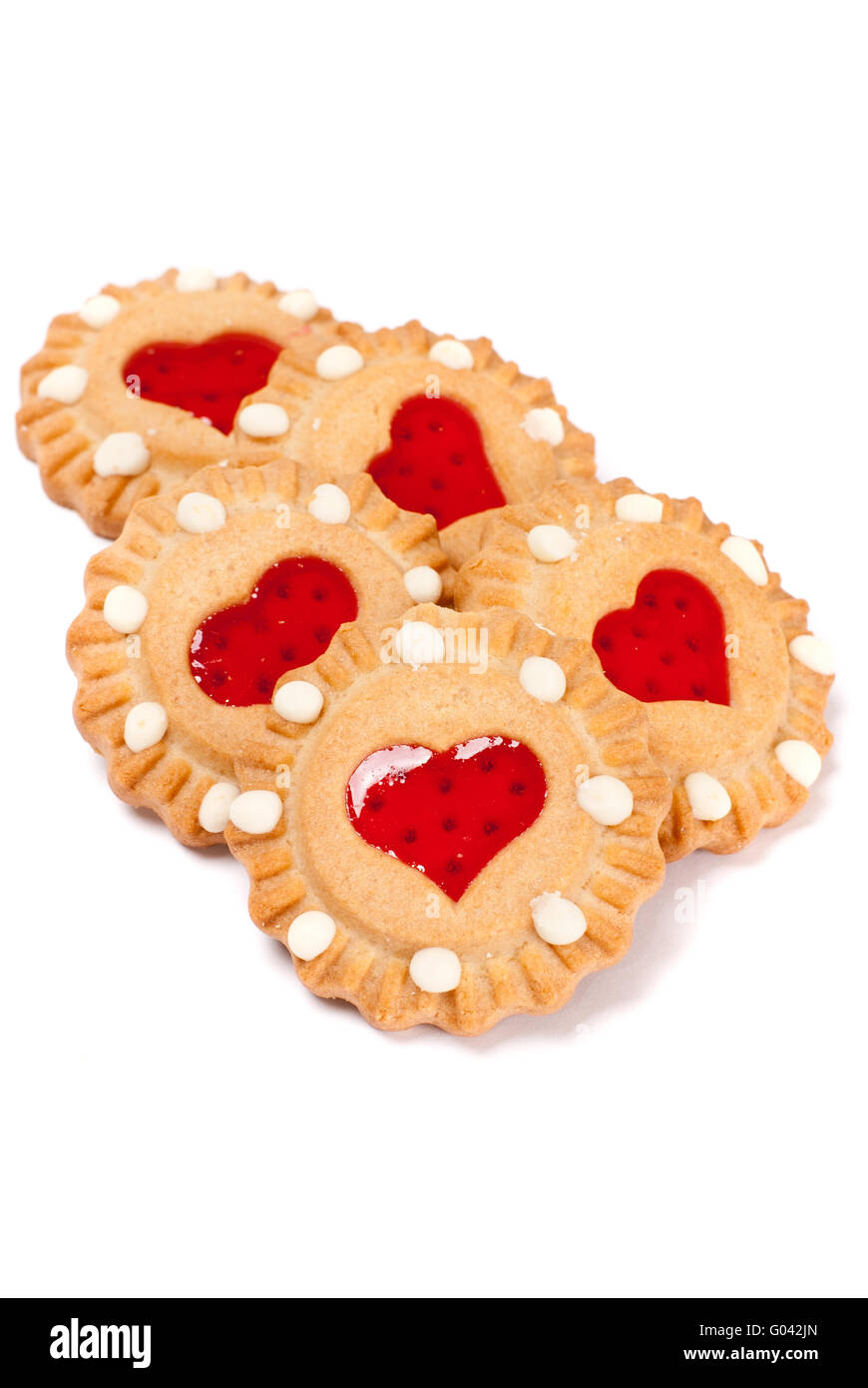 Festive heart cookies isolated on white background - Stock Image