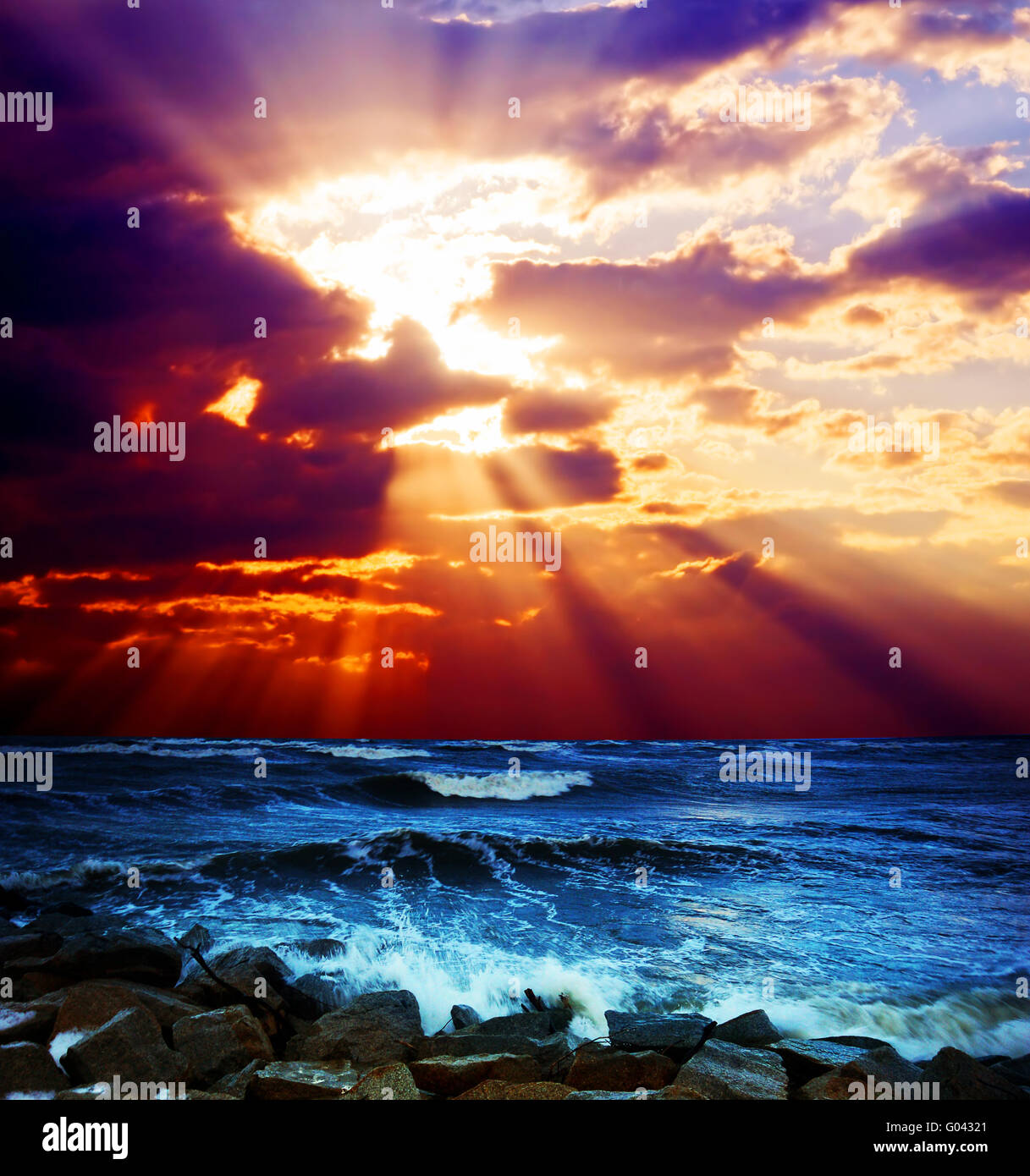 Surrealistic sunset seascape. Beautiful background - Stock Image