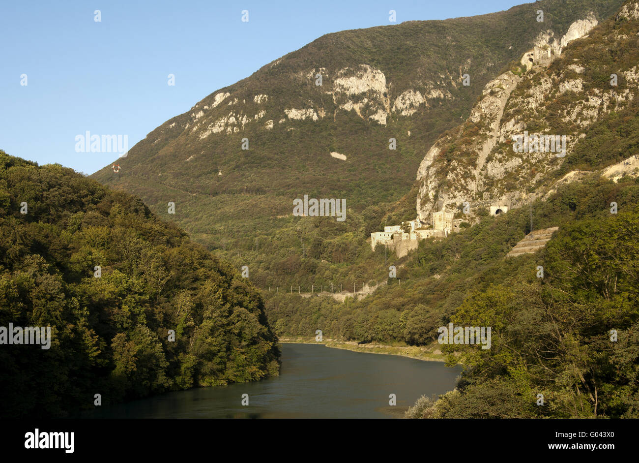 Valley of the Rhone river with the Fort l'Écluse - Stock Image