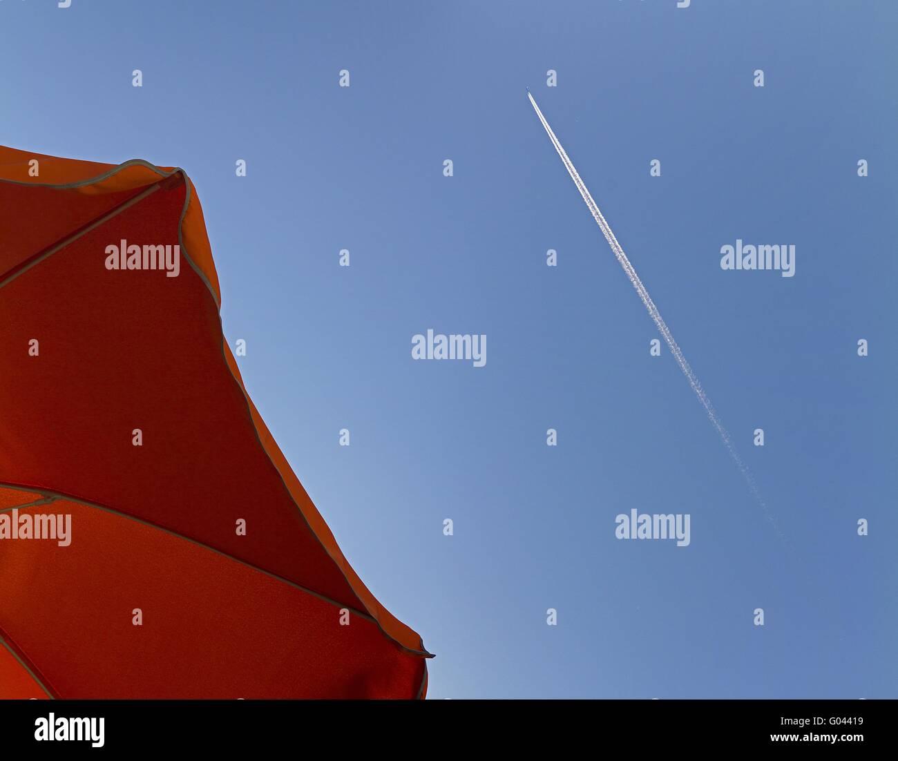 sunshade with airplane - Stock Image