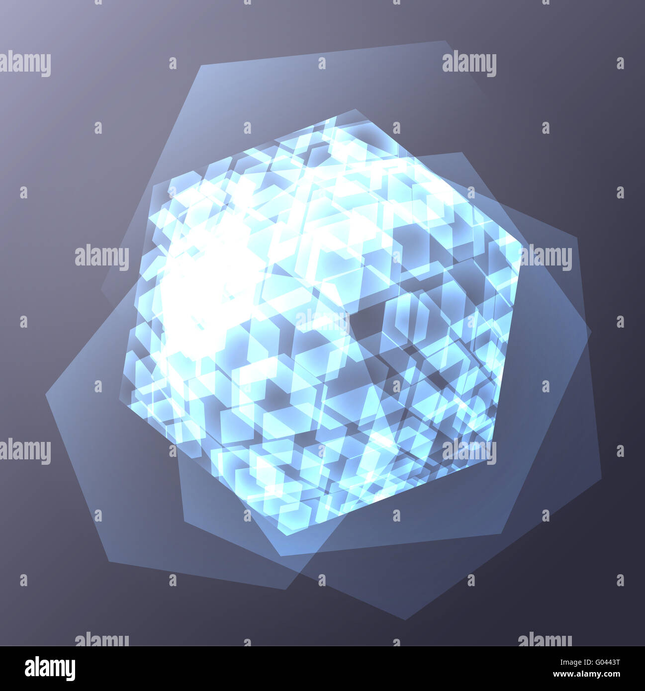 Hexahedron abstract digital glossy edgy artificial - Stock Image
