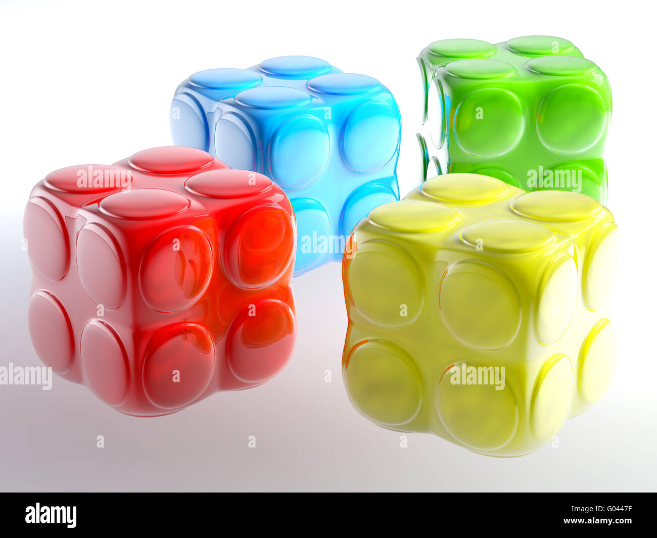 varicoloured child's blocks for games in outdoor - Stock Image
