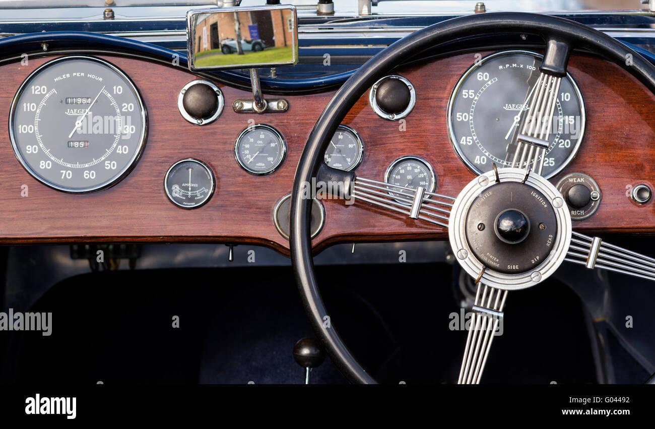 1933 Aston Martin Le Mans 1500cc Car Interior At Bicester Heritage Stock Photo Alamy