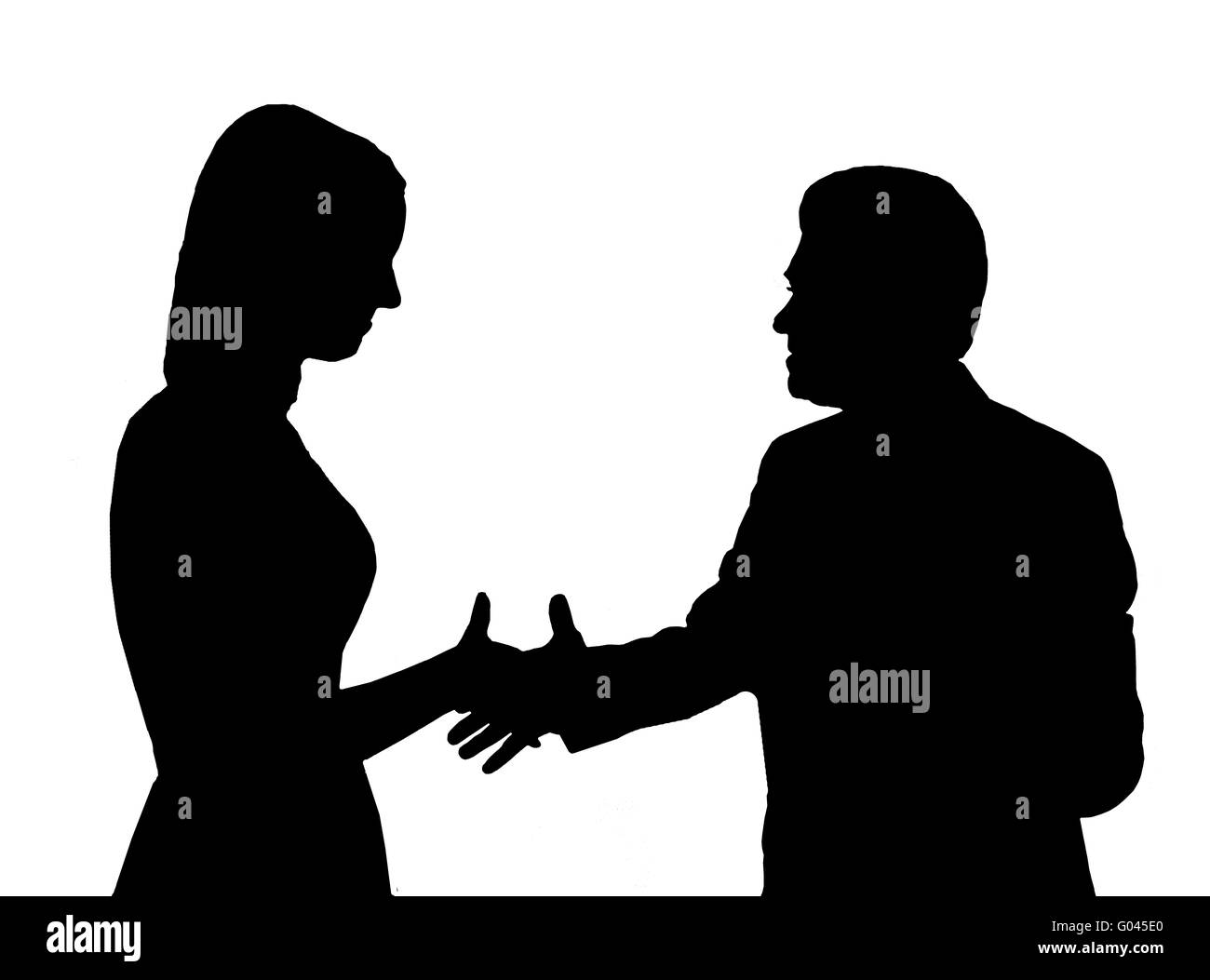 shaking hand to young woman on the white backgroun - Stock Image