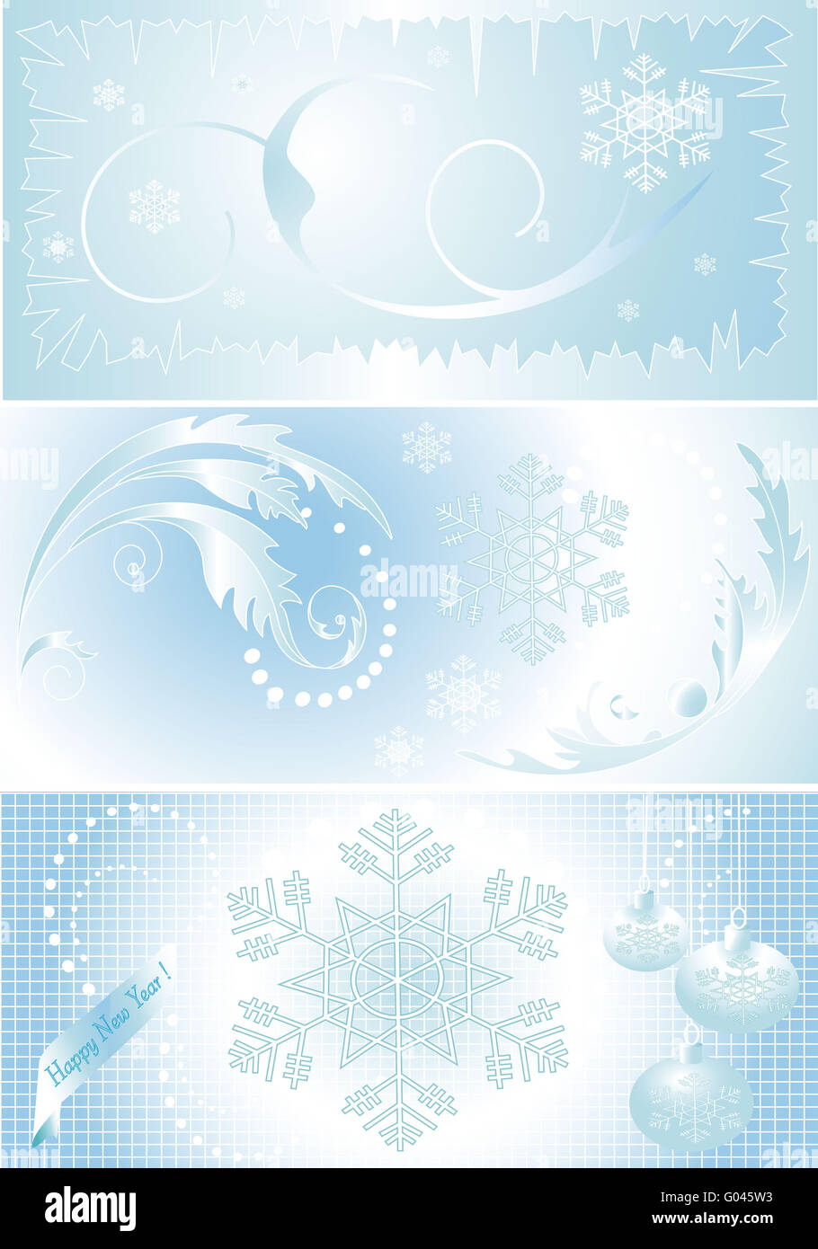 Three bright background on the theme of winter. - Stock Image