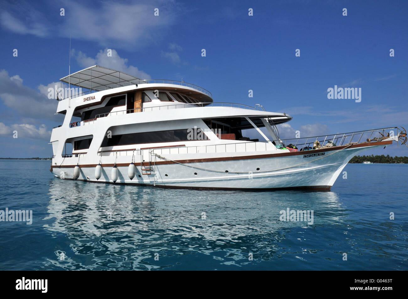 Diving boat, M/Y Sheena, Maledives - Stock Image