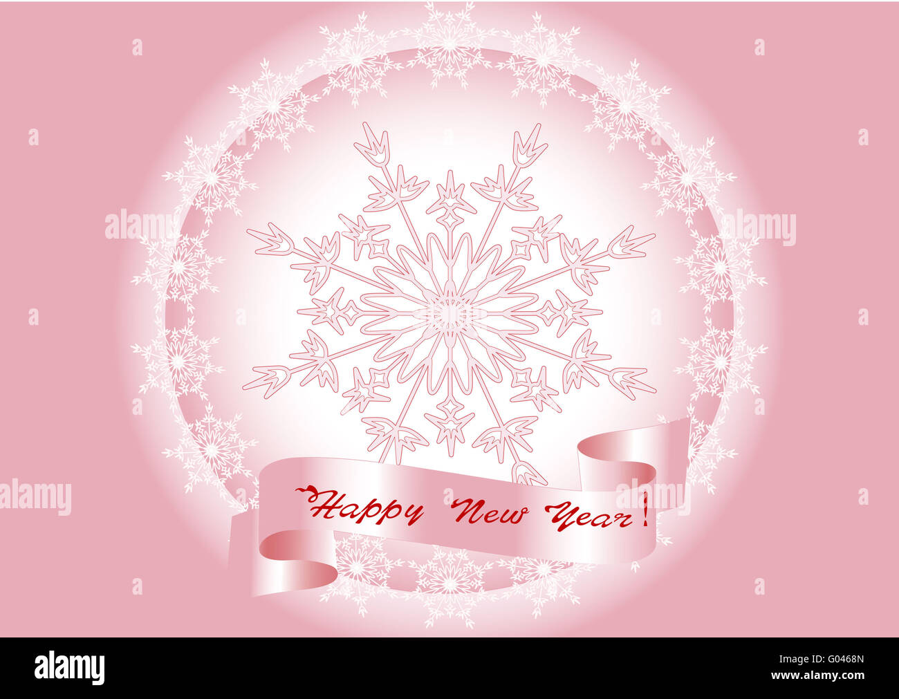 Congratulatory card Happy New Year and Merry Chris - Stock Image