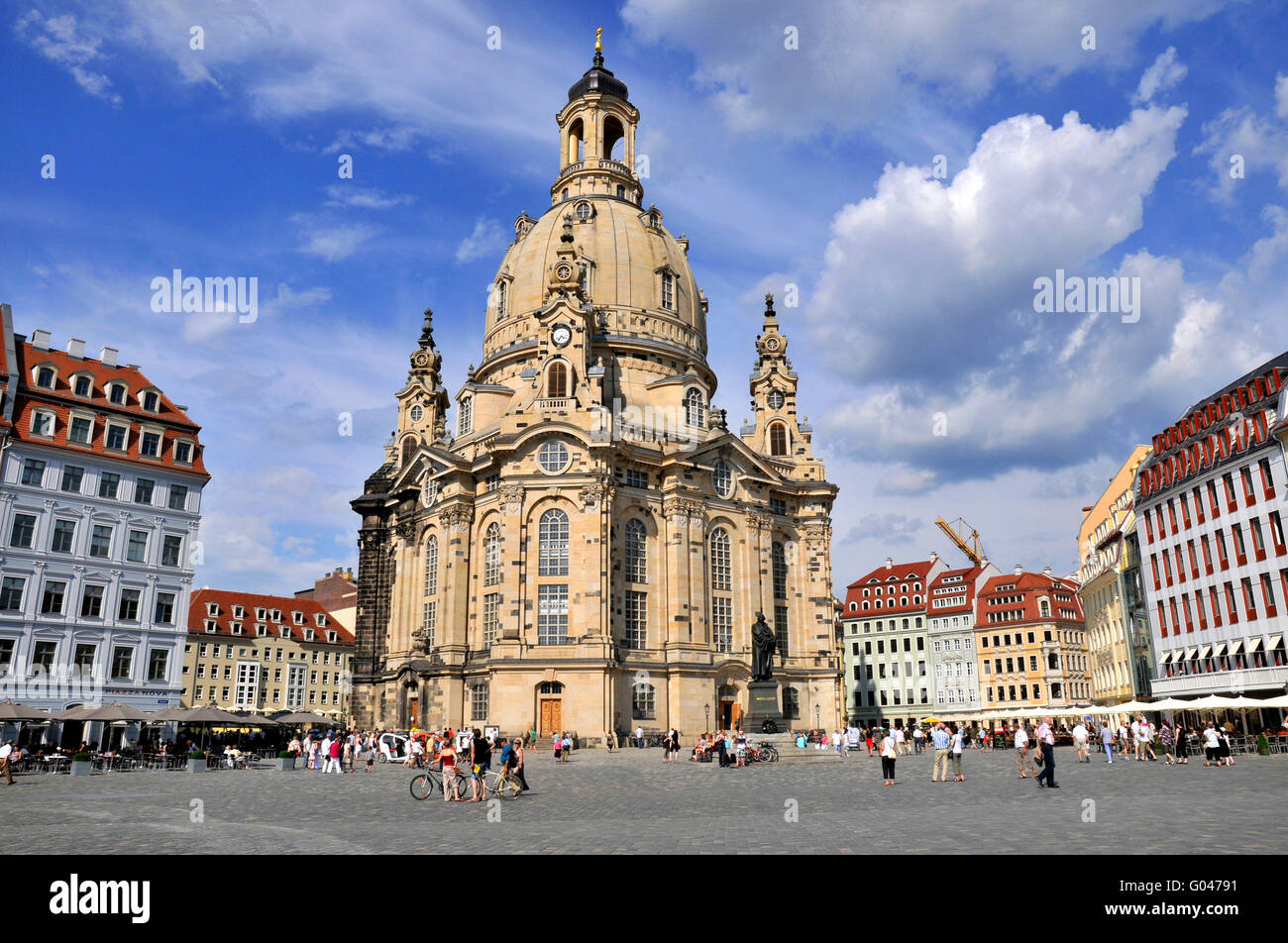 Dresden Frauenkirche, Church of Our Lady, Neumarkt, Dresden, Saxony, Germany / Dresdner Frauenkirche Stock Photo