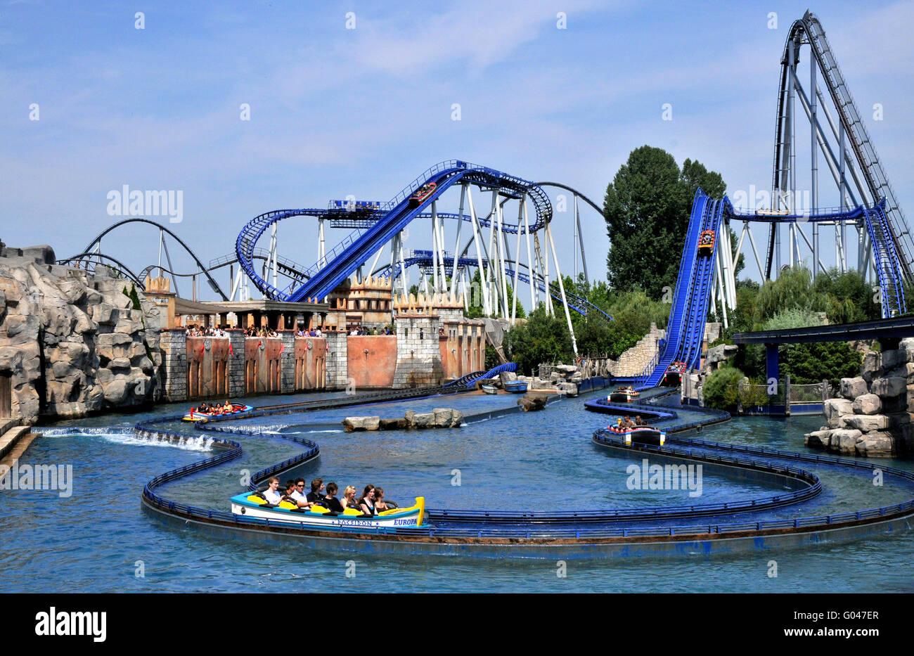 Water rollercoaster Poseidon, roller coaster, Europa-Park, Rust, Baden-Wurttemberg, Germany / Europa Park - Stock Image