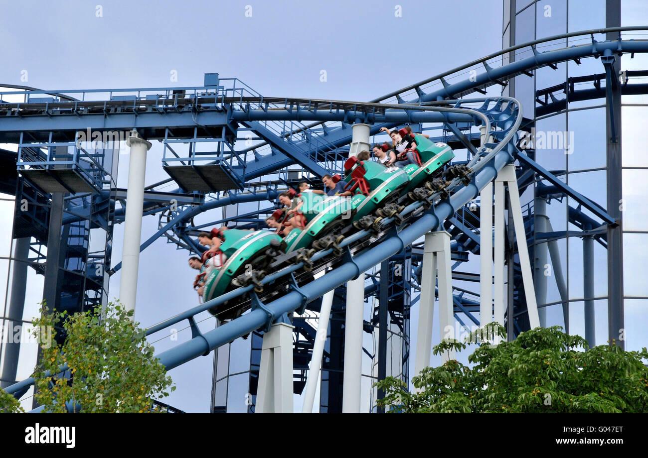 Rollercoaster Euro-Mir, roller coaster, Europa-Park, Rust, Baden-Wurttemberg, Germany / Europa Park - Stock Image