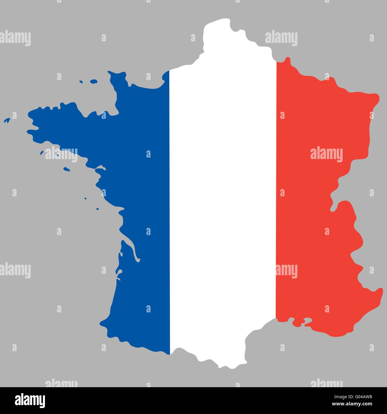 Map of France with an official national flag - Stock Image