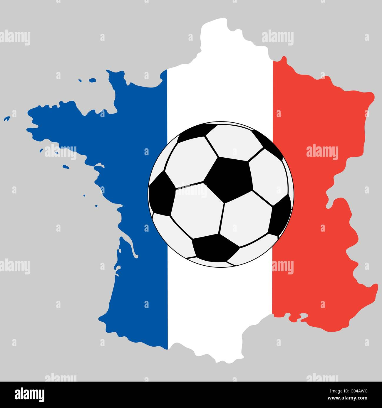 France map with flag and soccer ball - Stock Image