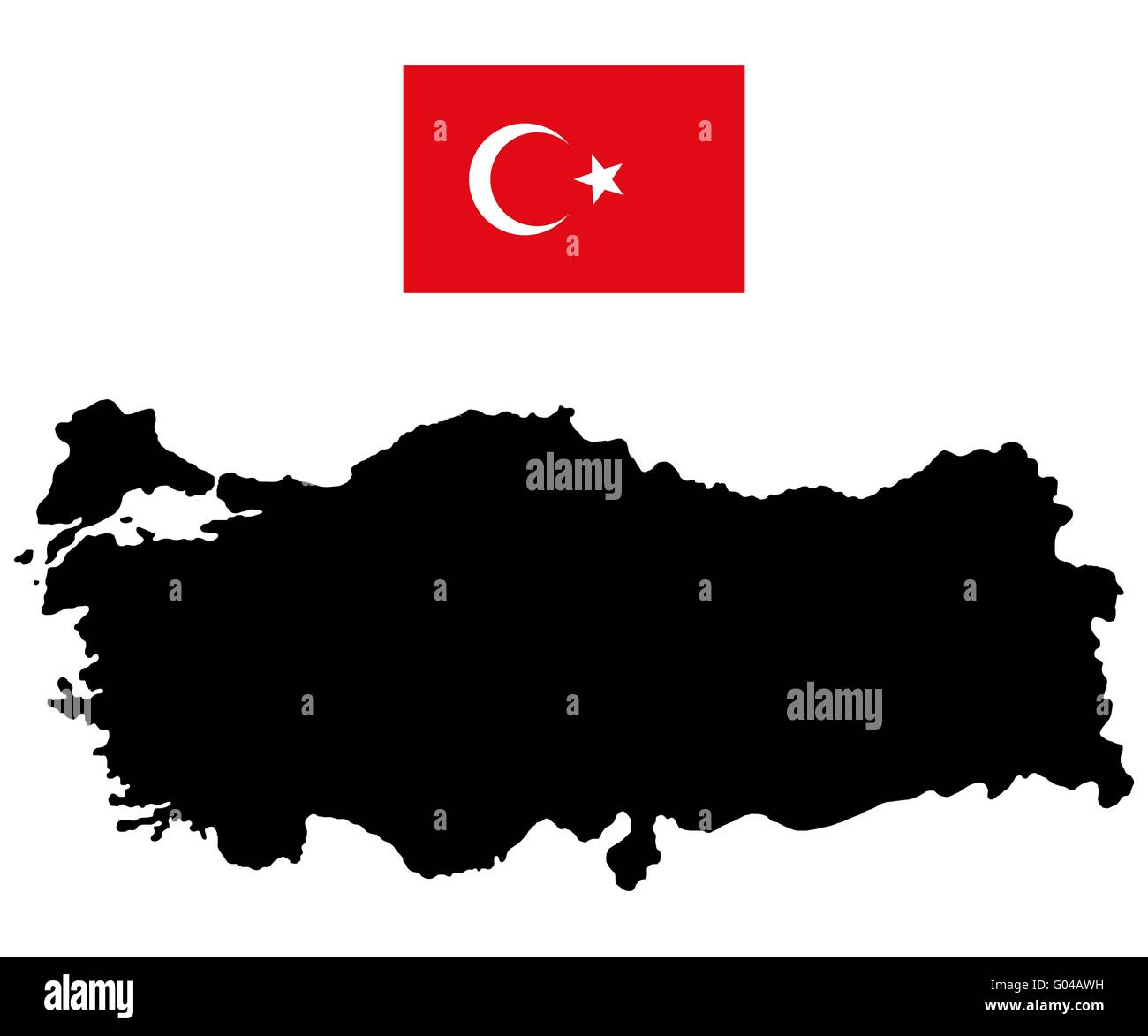 Map of Turkey and the official flag - Stock Image