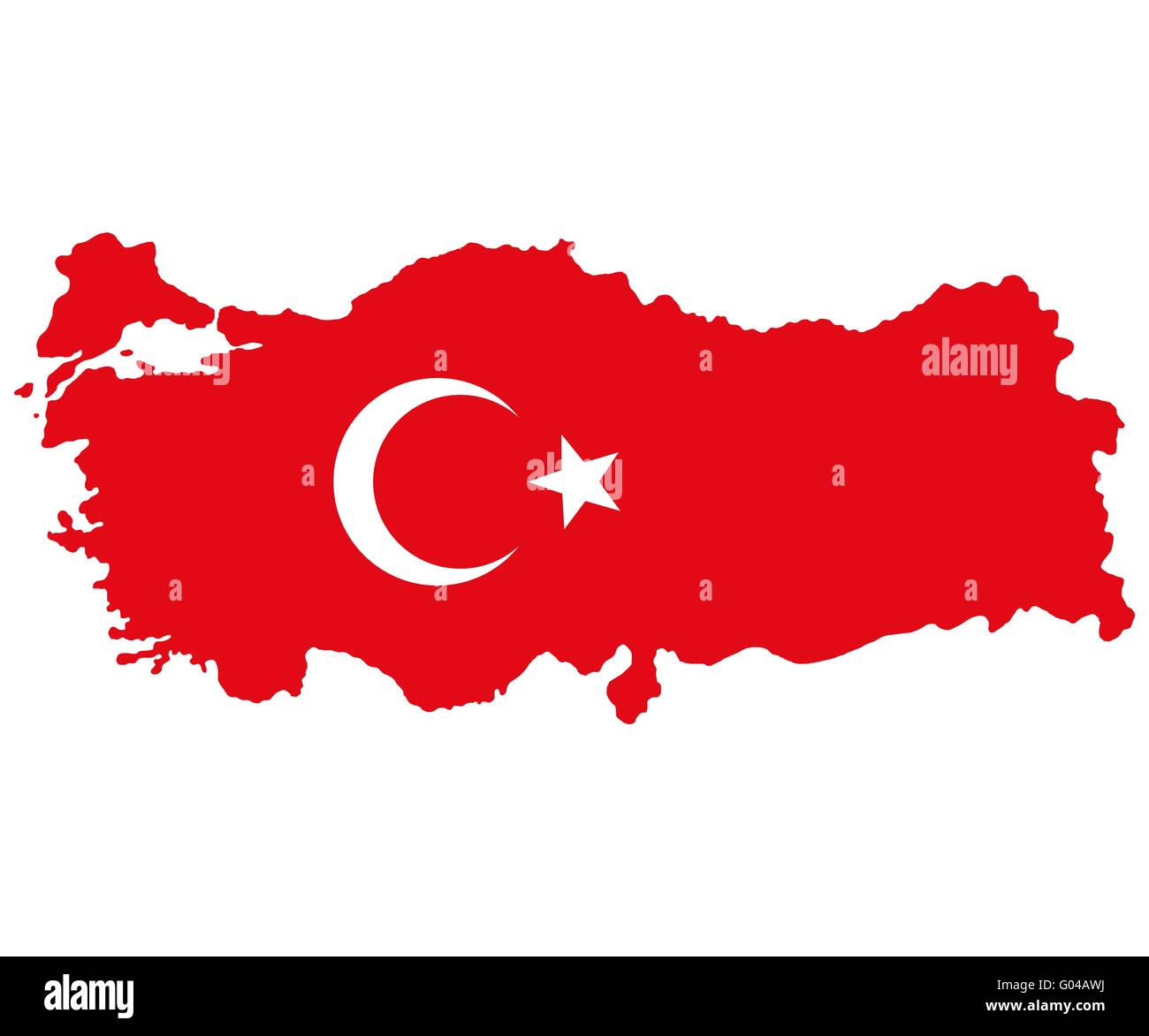 Map of Turkey Turkish flag - Stock Image