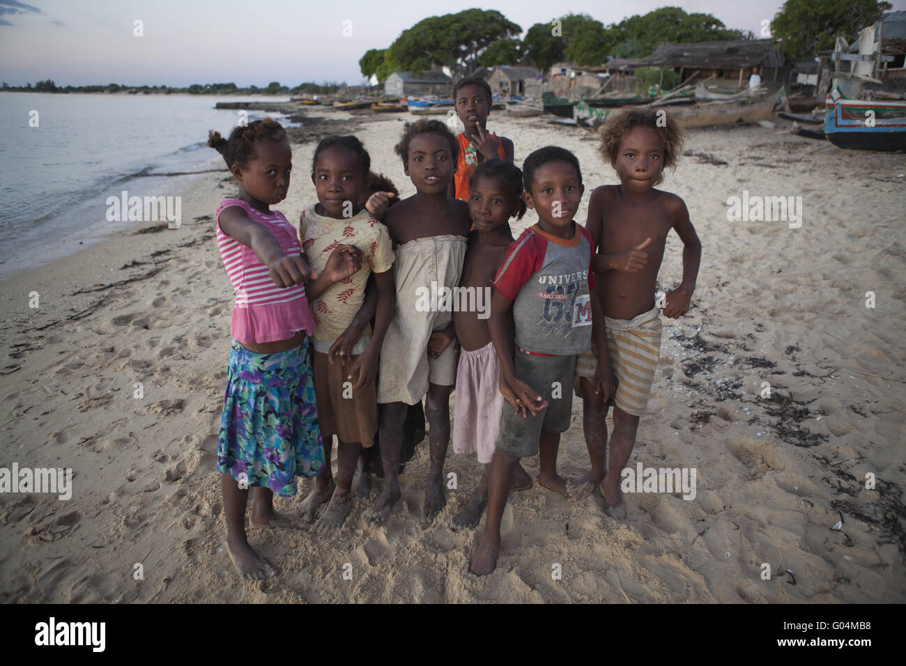 African children on the beach of Ifaty, Madagascar - Stock Image