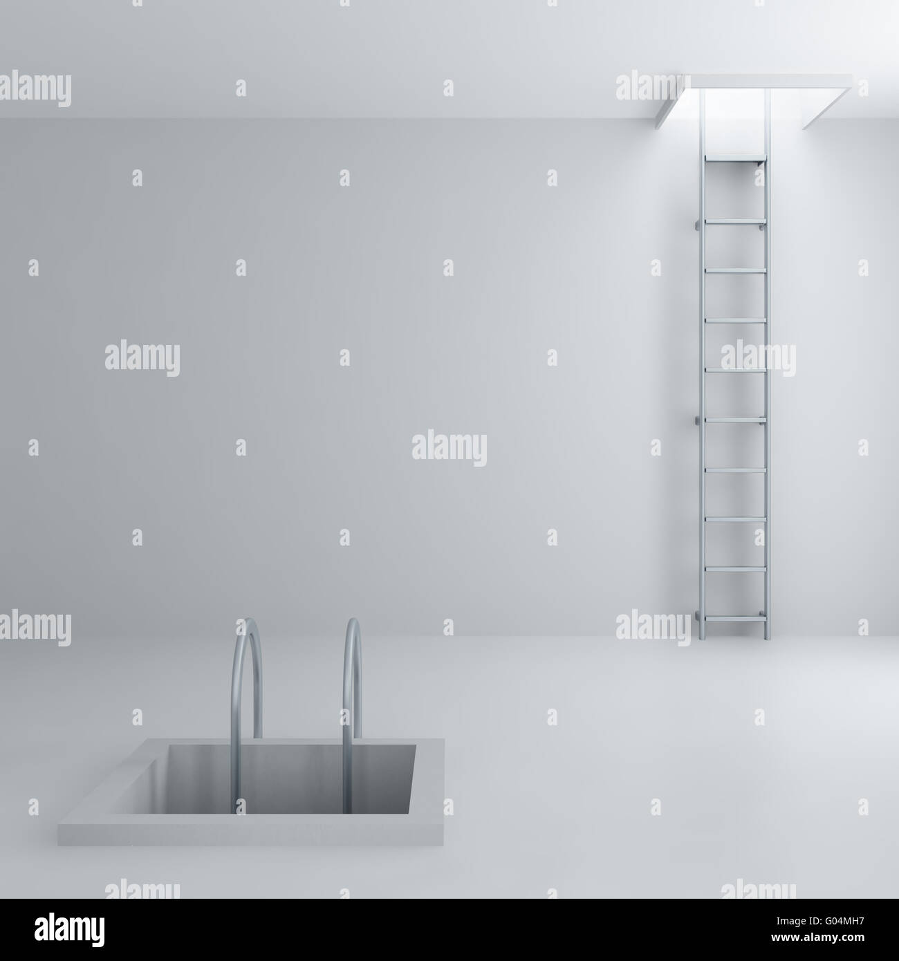 Ladders upwards and downwards in a light room - Stock Image