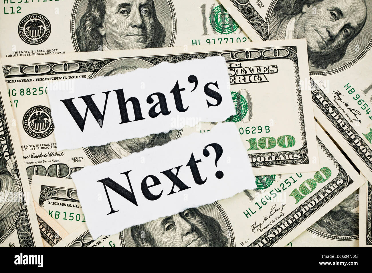 What is next concept, words on hundreds US notes - Stock Image