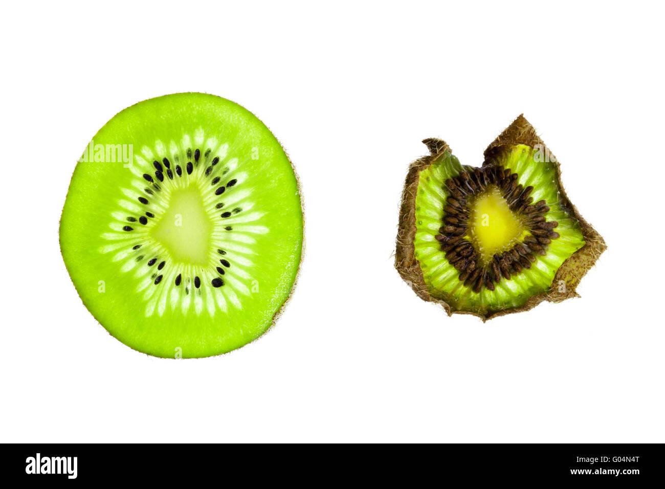 Senescence of a kiwi fruit slice - Stock Image