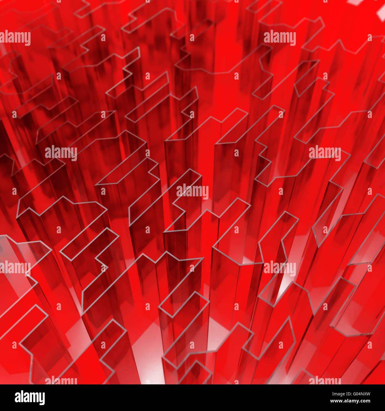 red glass acute angled abstraction as a background - Stock Image