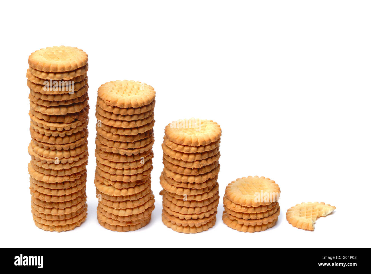 Descending graph made out of stacks of cookies - Stock Image
