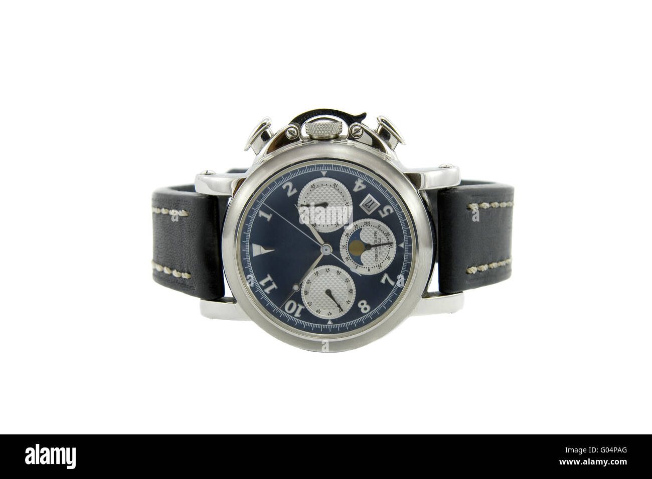 Rich silver chronograph watch with sapphire glass in white background - Stock Image