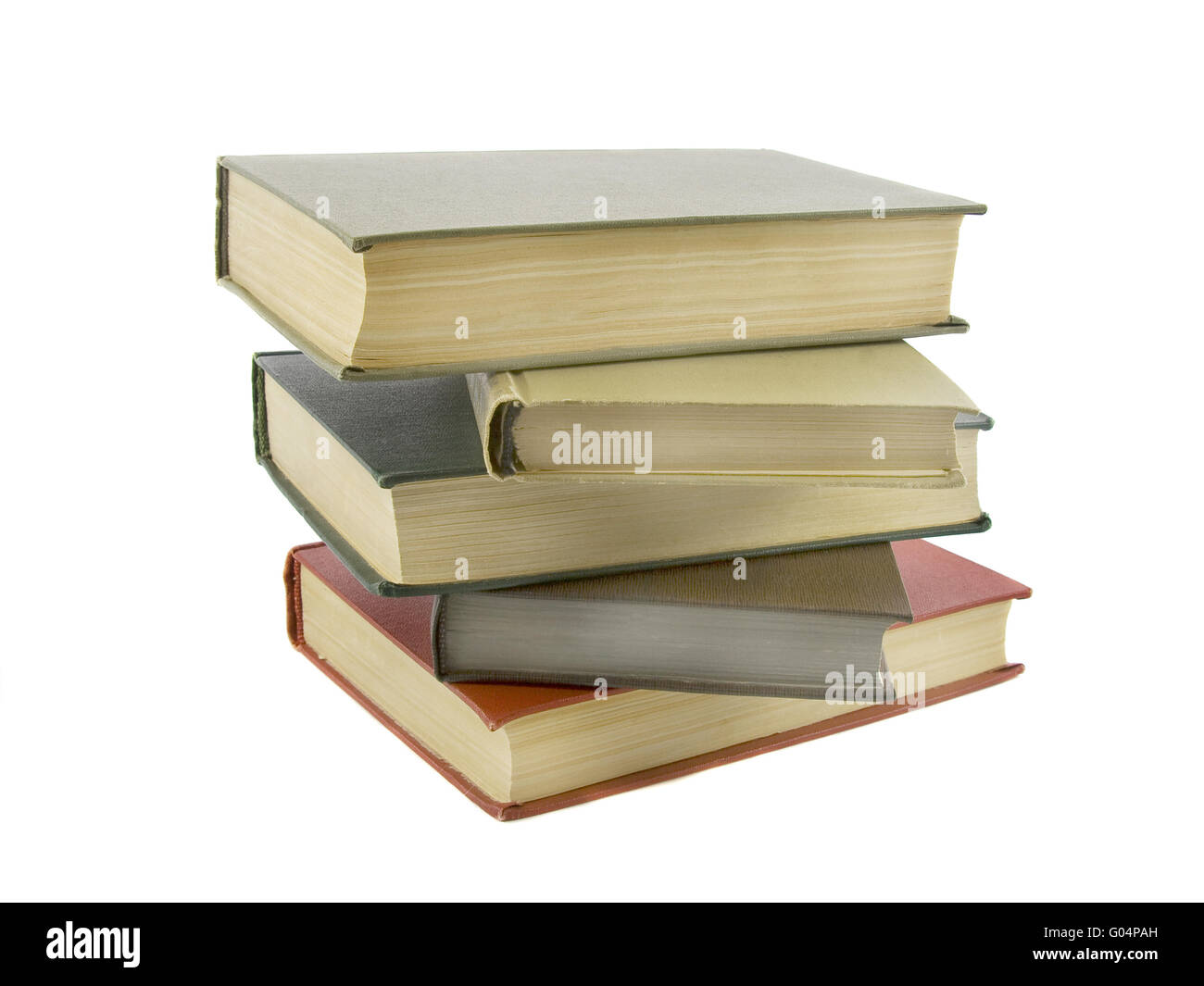 Stack of books isolated on the white background - Stock Image