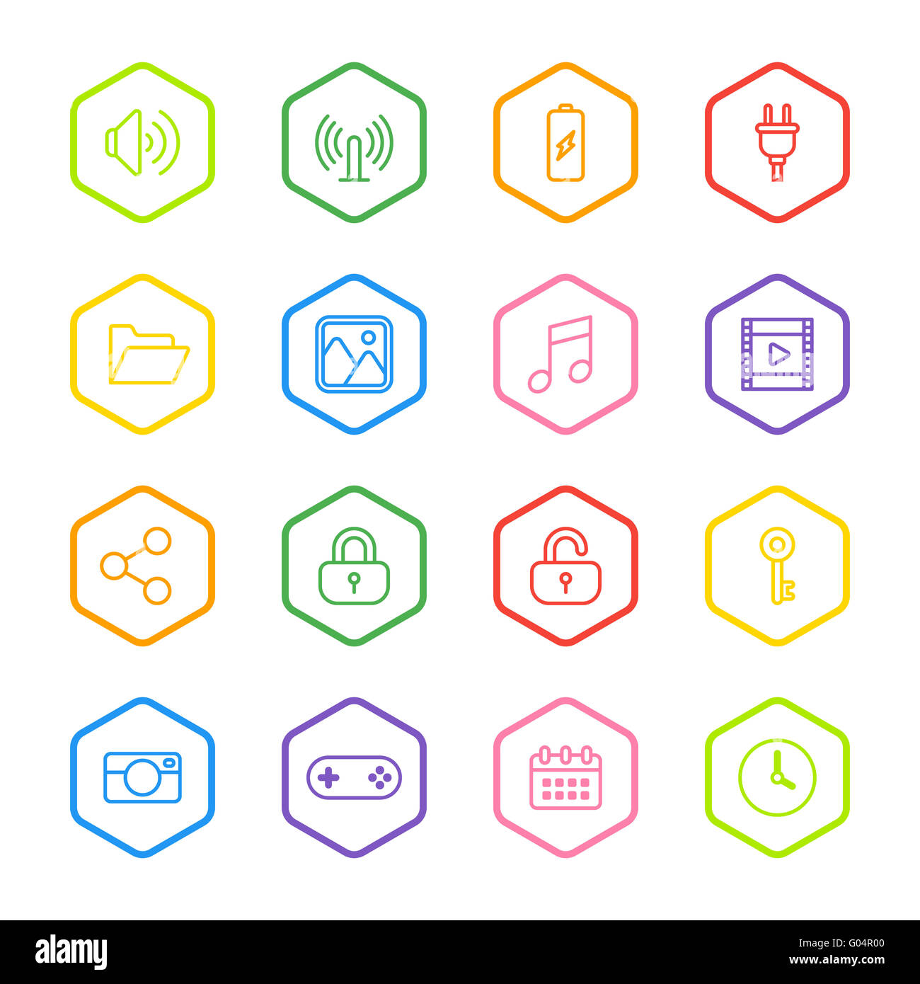 JPEG] colorful line web icon set with hexagon frame for web, UI ...