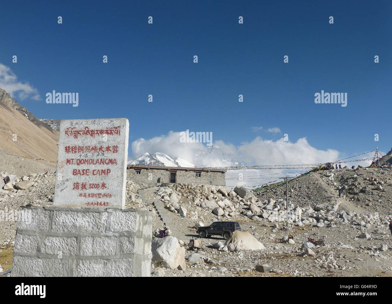 Elevation milestone at Mount Everest Base Camp indicating altitude of 5200 above sea level on the Tibet side. - Stock Image