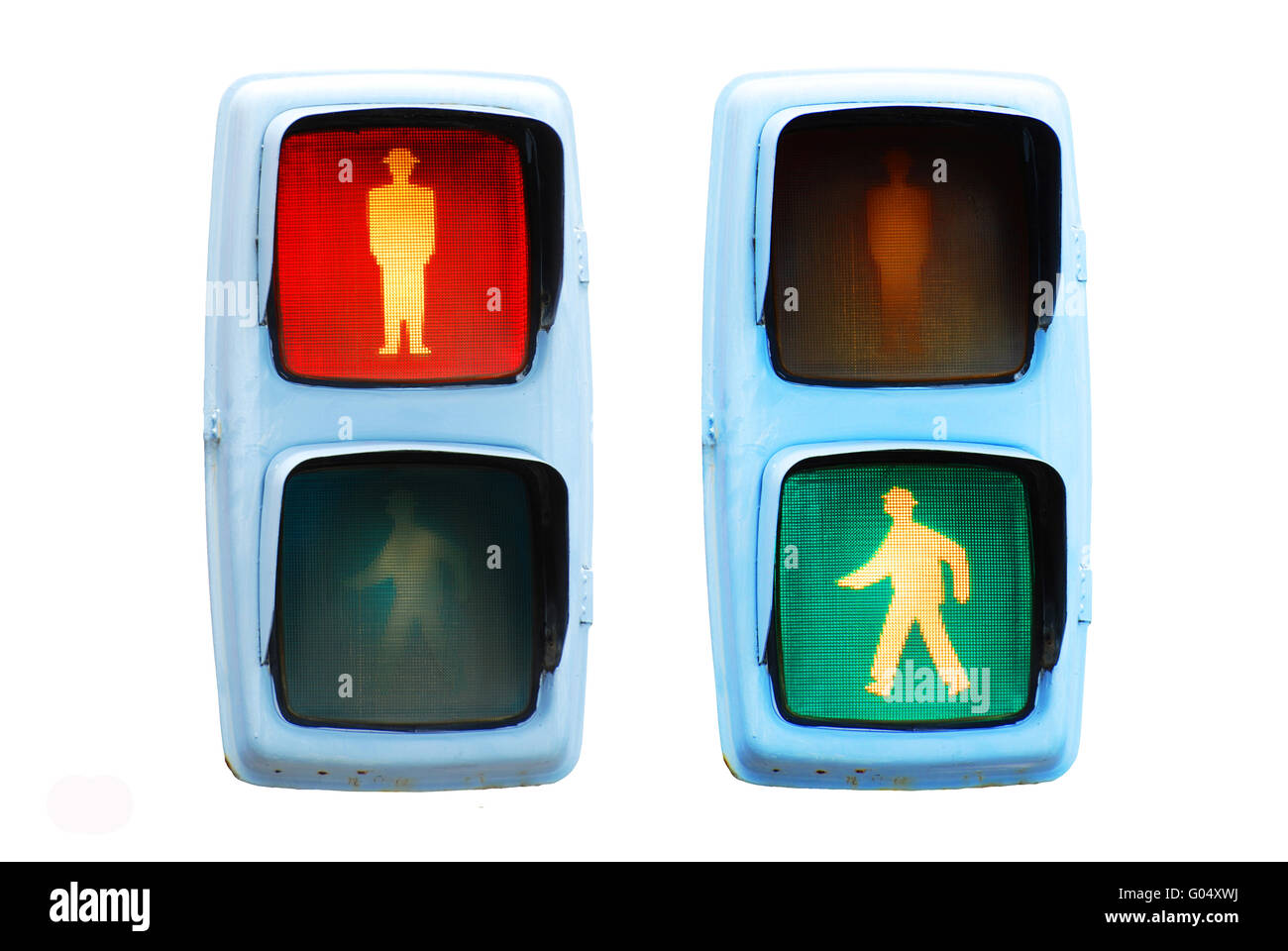 pedestrian traffic lights red and green walk sign - Stock Image
