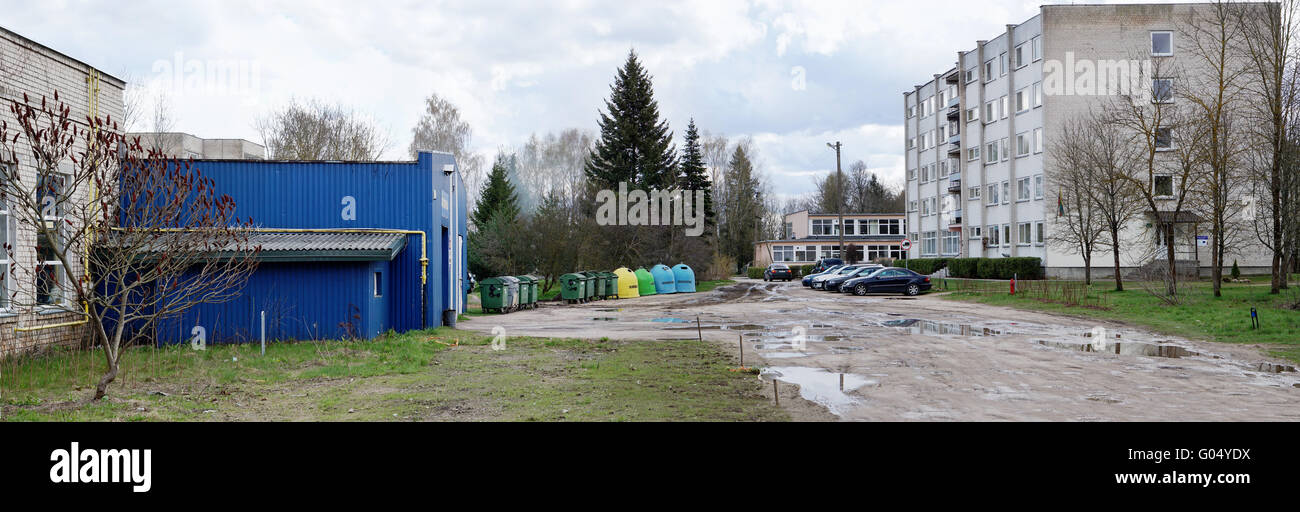 VILNIUS, LITHUANIA - APRIL 23, 2016:  The Hostel and trash cans of agricultural faculty of the Vilnius College on - Stock Image