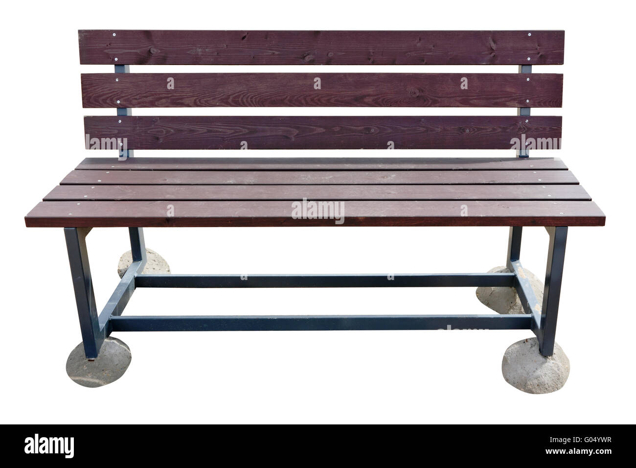 69aa71f34 Wooden beach bench with a metal anti vandal framework. Not to plunge into  sand, each leg of a bench is on a concrete pad. Isolat