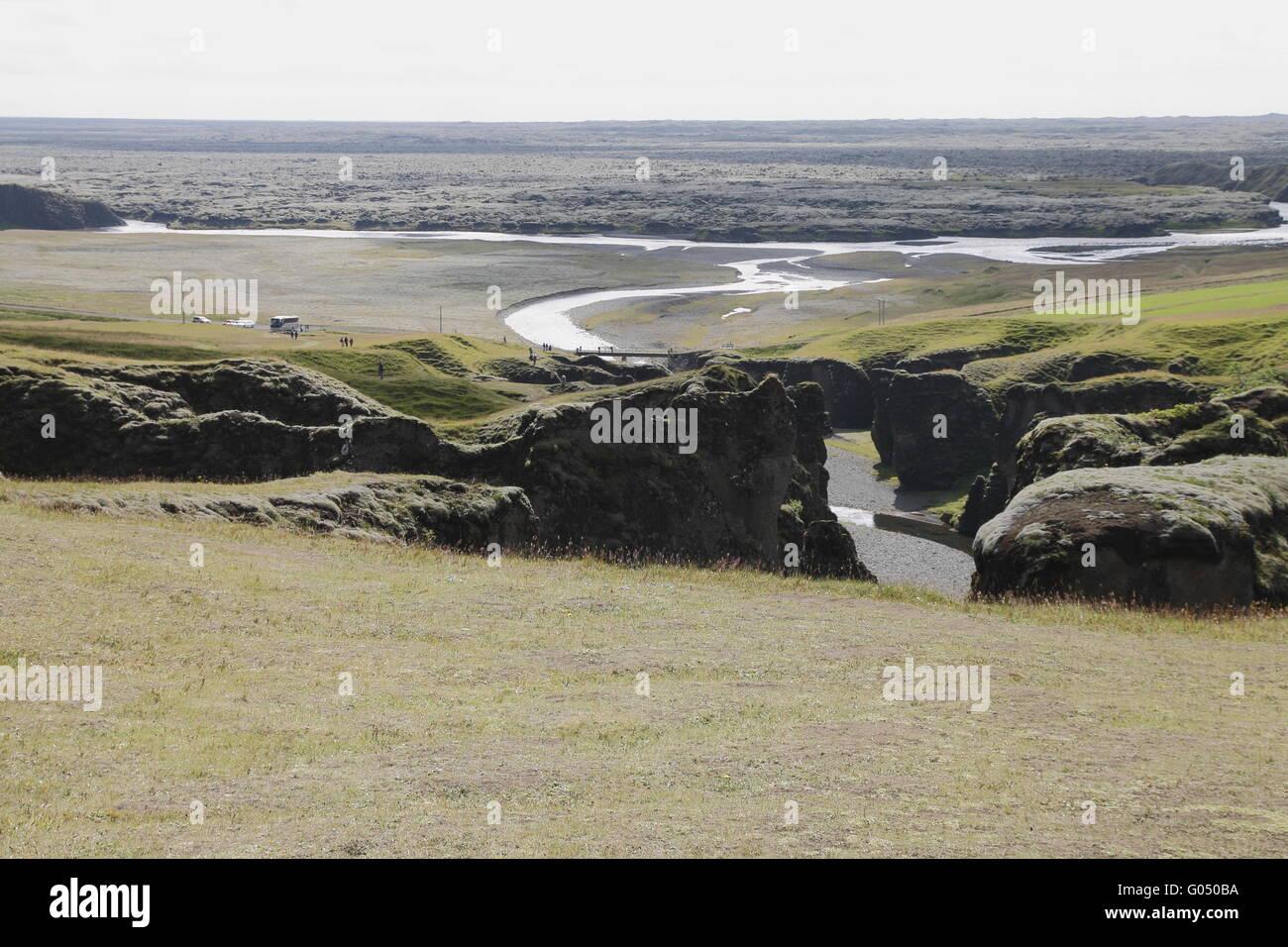 Fjaðrárgljúfur gorge and the Eldhraun lava field near to Kirkjubæjarklaustur village. Skaftárhreppur - Stock Image