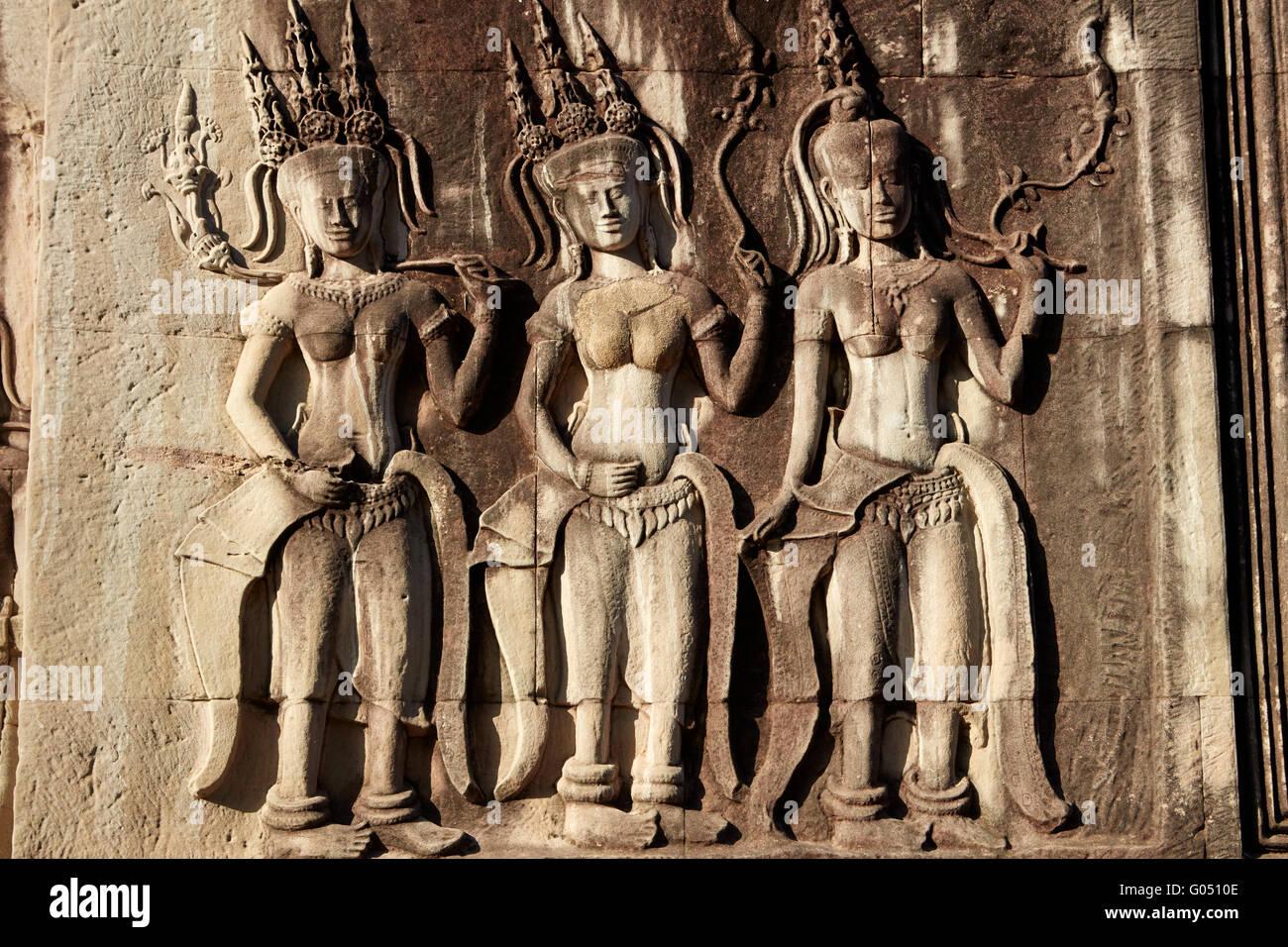 Bas relief stone carvings of apsaras angkor wat th century